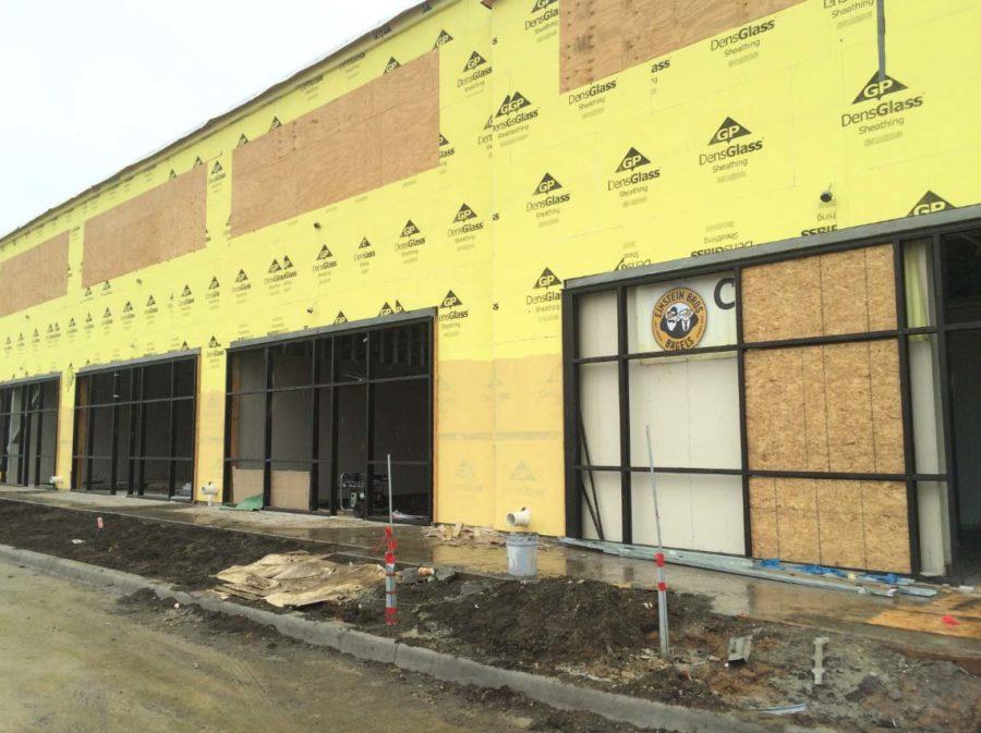Einstein Bros Bagels in under construction in a new strip mall in Allen.