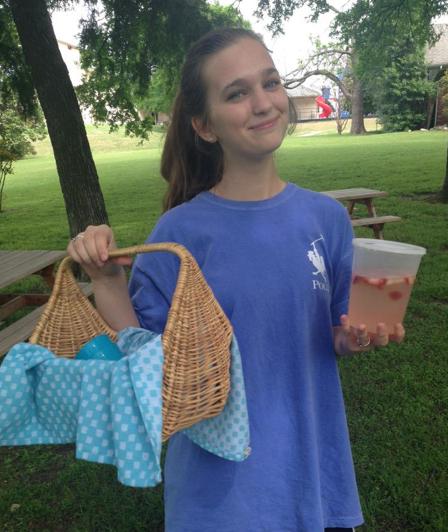 Jillian Sanders sporting homemade strawberry lemonade on a picnic Saturday.