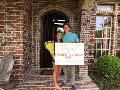 Junior Andrew Hopkinson asked junior Riley Gournay to prom in relation to her record breaking times this track season.