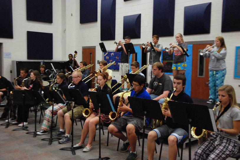 Jazz band practices early in the morning to perfect their pieces.