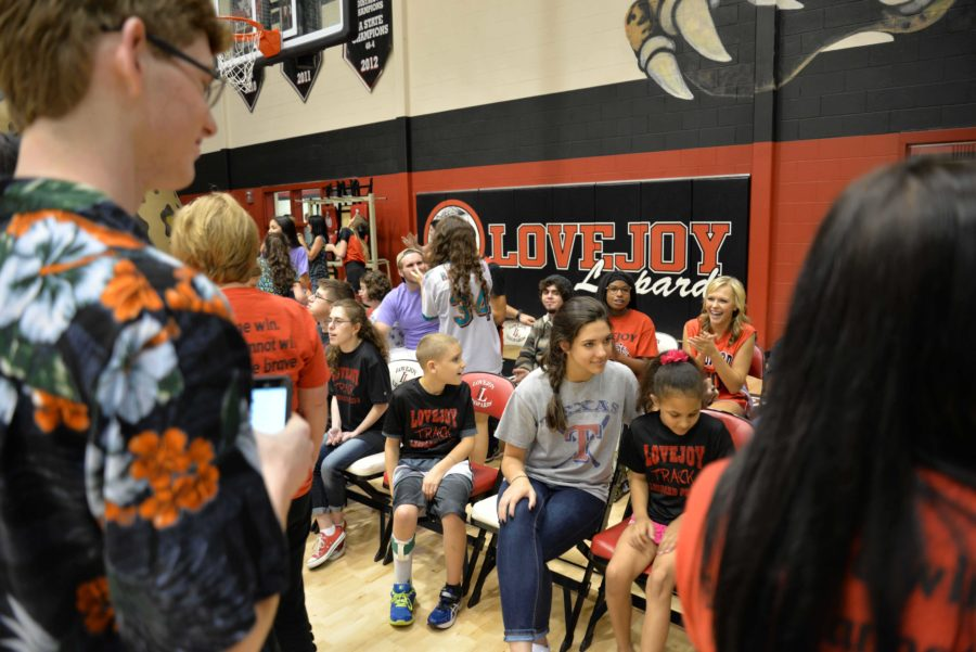 Before the pep rally PALS sat with athletes on the East side of the gym awaiting the first Special Olympics pep rally.