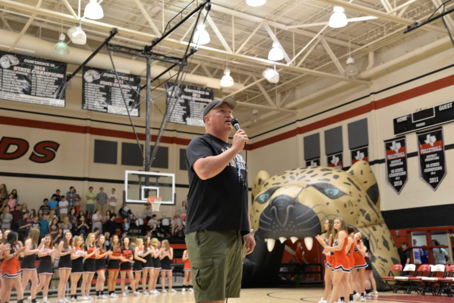 Head football coach Ryan Cox was getting the crowd hyped-up for Special Olympics.