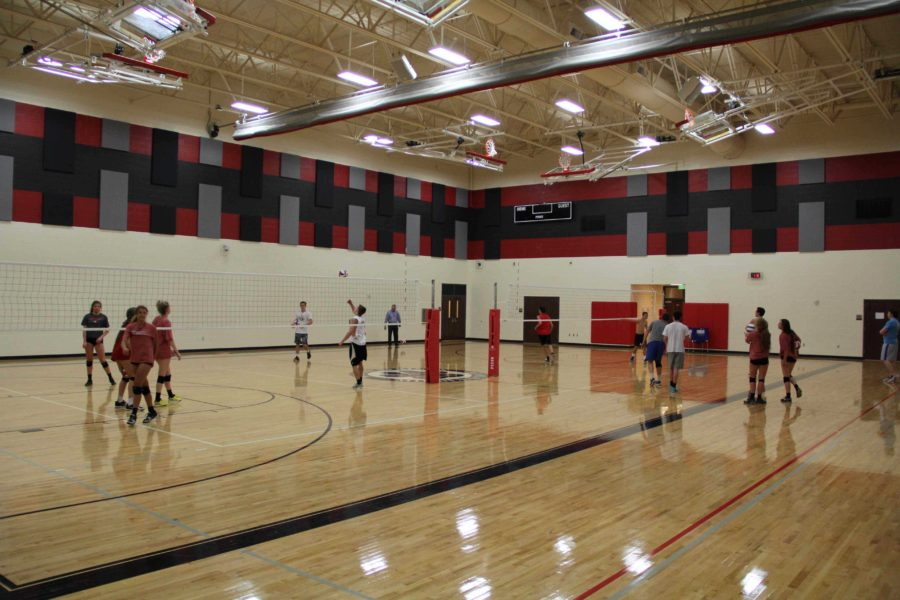 The boys volleyball team practices Tuesday and Wednesday evenings at Willow Springs.