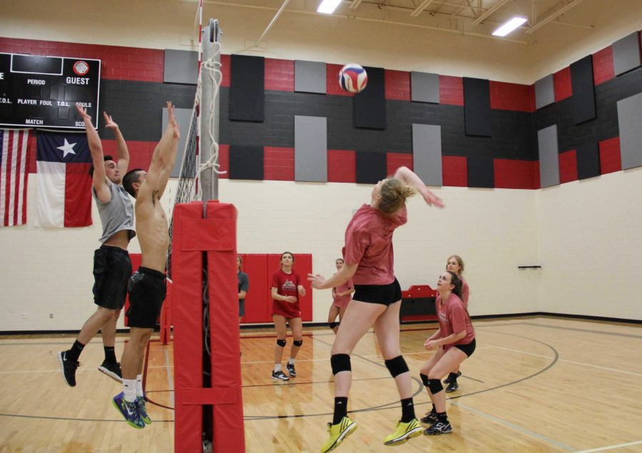 Lady Leopards such as sophomore Callie Holden utilize the boys practice as an opportunity to maintain practicing for volleyball when out of season.