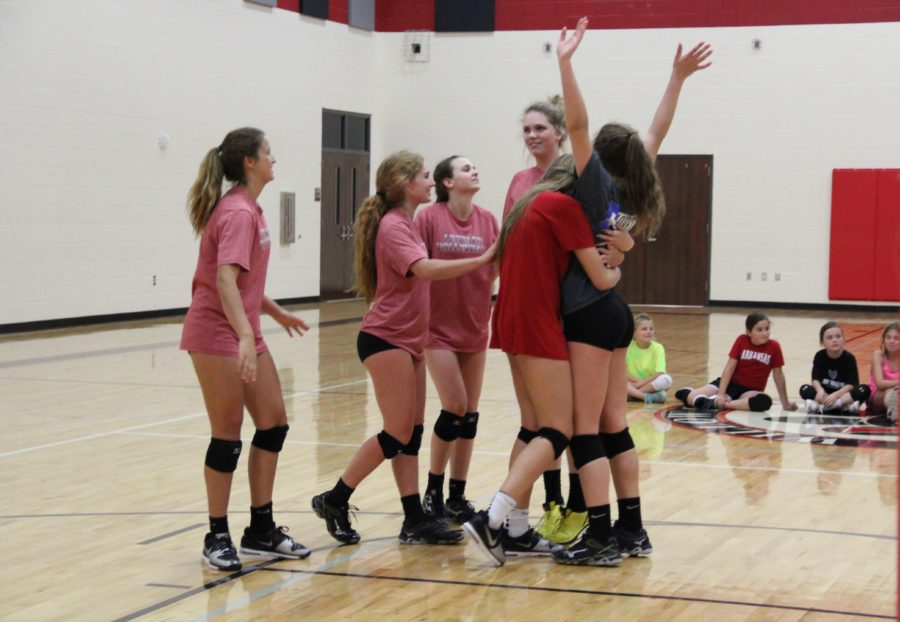 The girls celebrate their win over the boys, another of quite a few victories for the Lady Leopards.