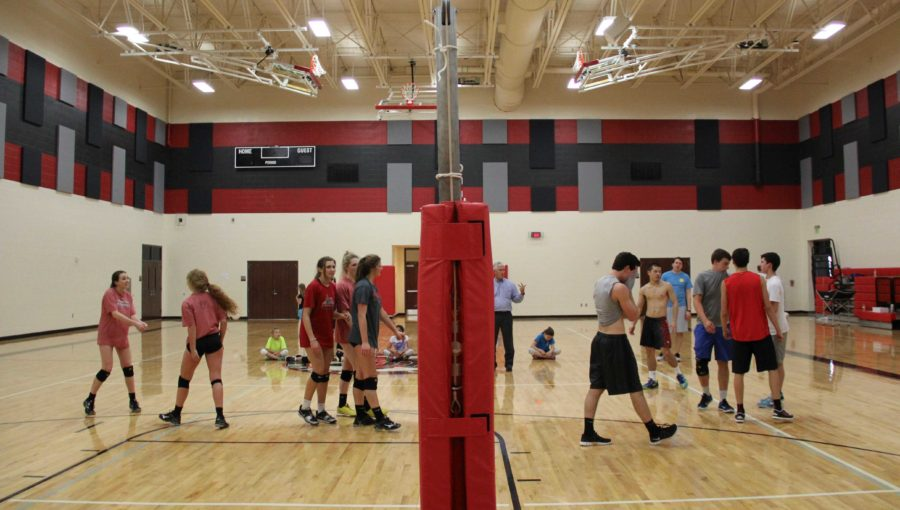 For the second half of practice, the boys scrimmage against members of the girls volleyball team in preparation for their tournament this coming weekend.