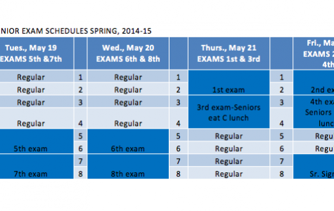Seniors end of the year schedule