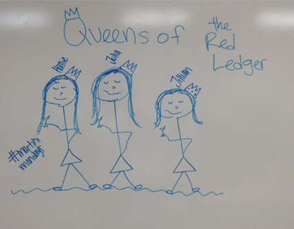 The last day of the 2013-2014 school year, an impressionist drawing of the three editor-in-chiefs was drawn. (No alcoholic beverages were served or considered acceptable by The Red Ledger staff.)
