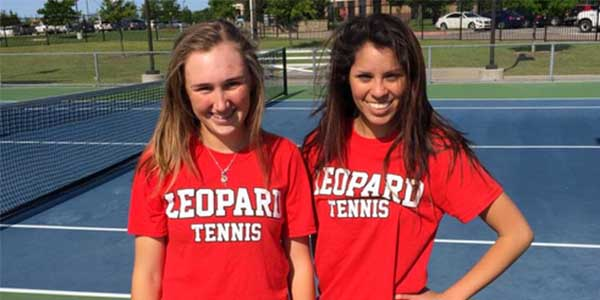 After winning the District 10-5A girls doubles  championship and finishing second in Region II, freshman Samantha Hayward and senior Anna Dickens play for their first state championship Tuesday and Wednesday at Texas A&M.