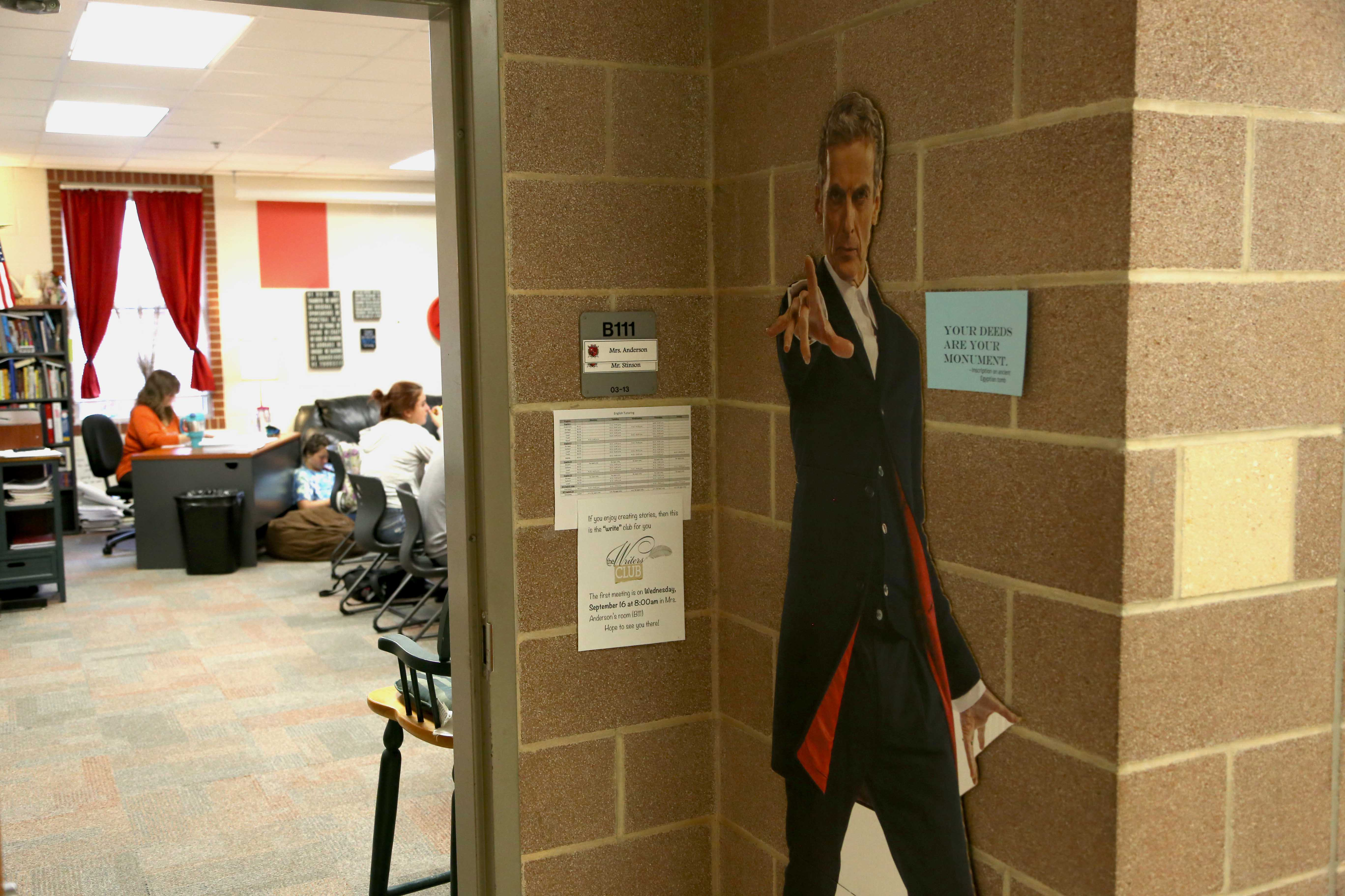 As students walk into Mrs. Anderson's classroom, they are daily greeted by Dr. Who's Peter Capaldi.