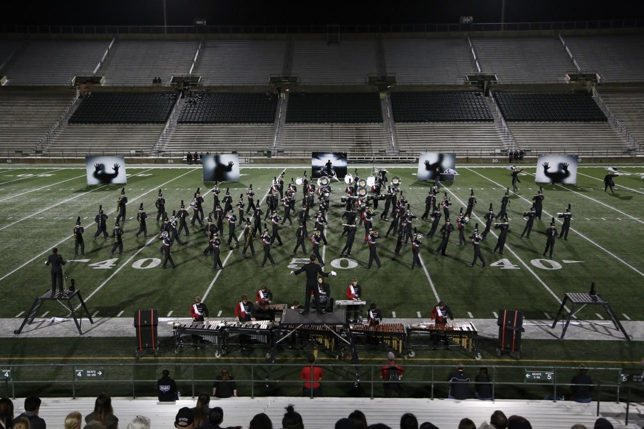 The woodwinds and brass form interlocking blocks that slide alongside each other at the UIL area competition in Mesquite.