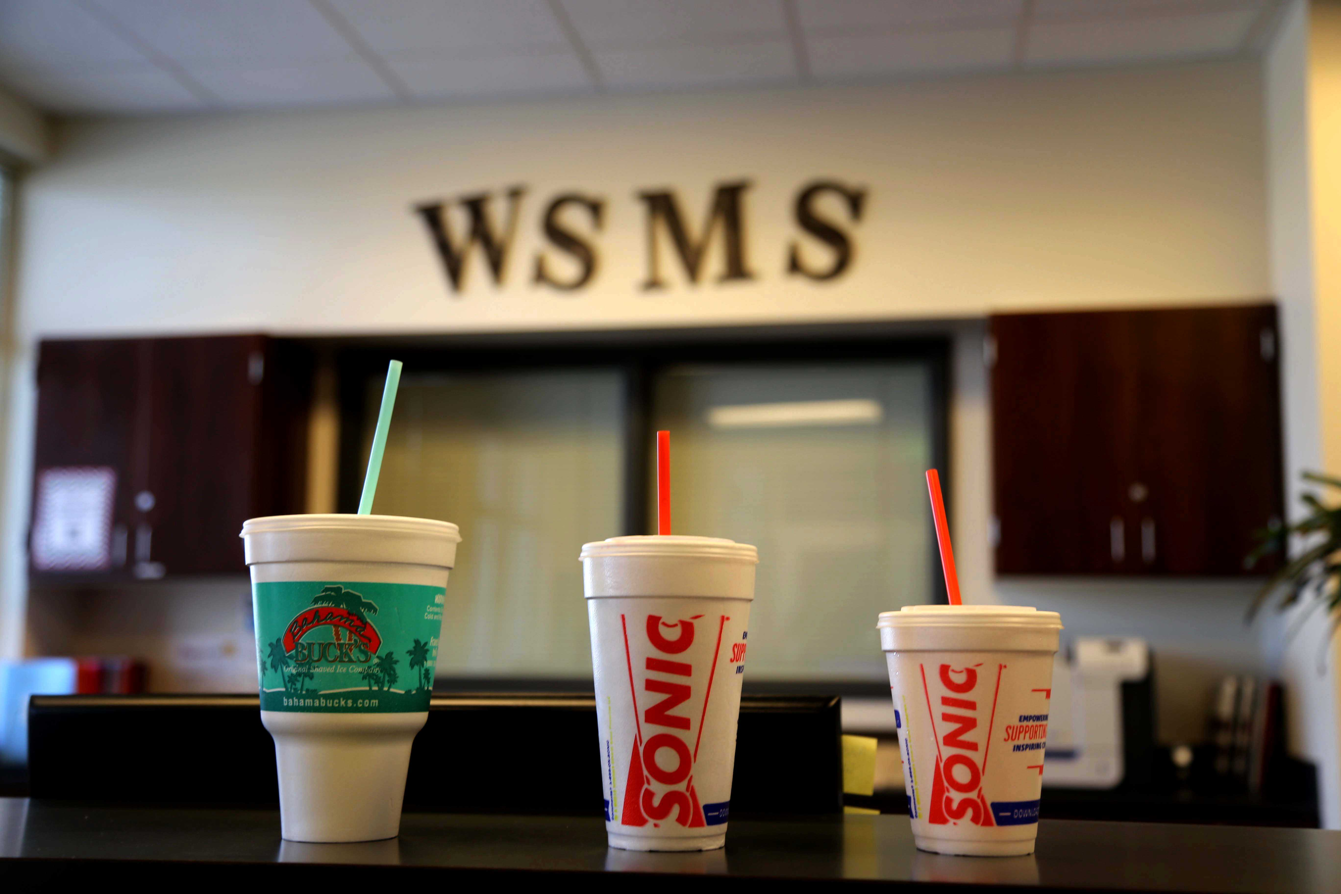 Due to the opening of several food chains, there has been an influx of drinks drinks from places like Starbucks and Sonic carried at the middle school. Students are no longer to permitted carry any drink other than water.
