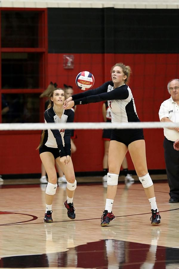 Junior Callie Holden hits the ball in a match against Wylie East on Tuesday, Sept. 22.