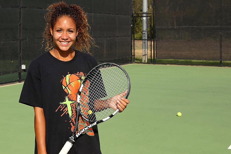 Senior Brittani Brooks is one of the leaders for the tennis team this season.
