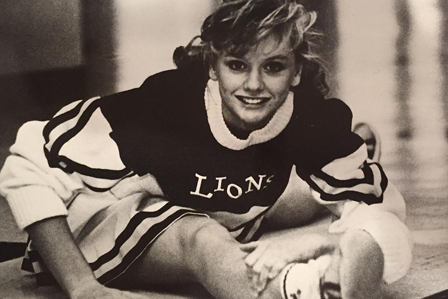 Mrs. Becky Campbell in her McKinney Lions cheer uniform in 1988.