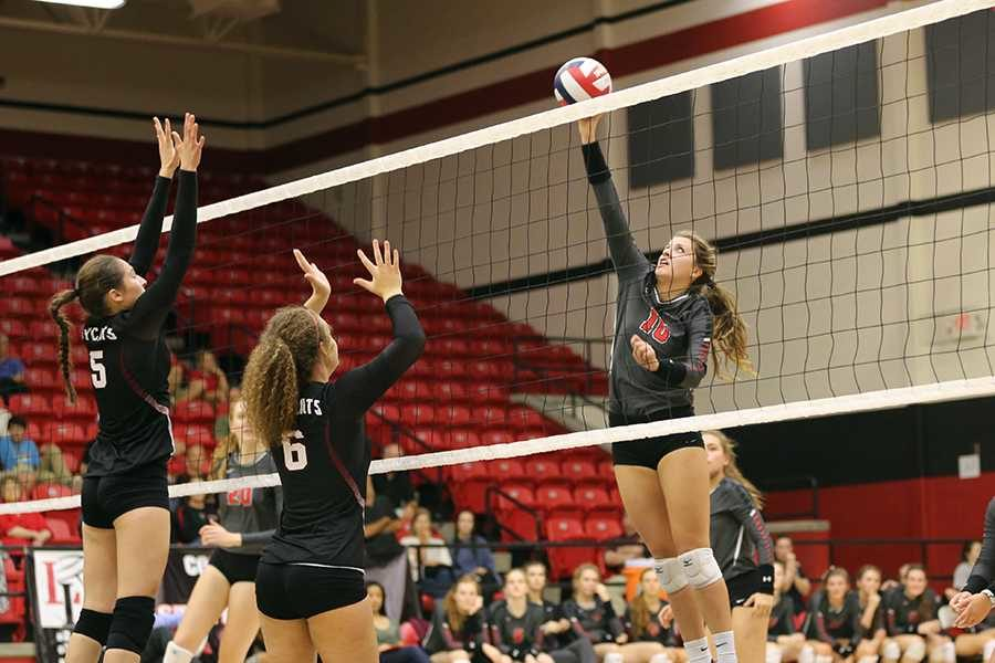 Senior Avery Arellano makes an effort to tip the ball, resulting in a point for the Leopards