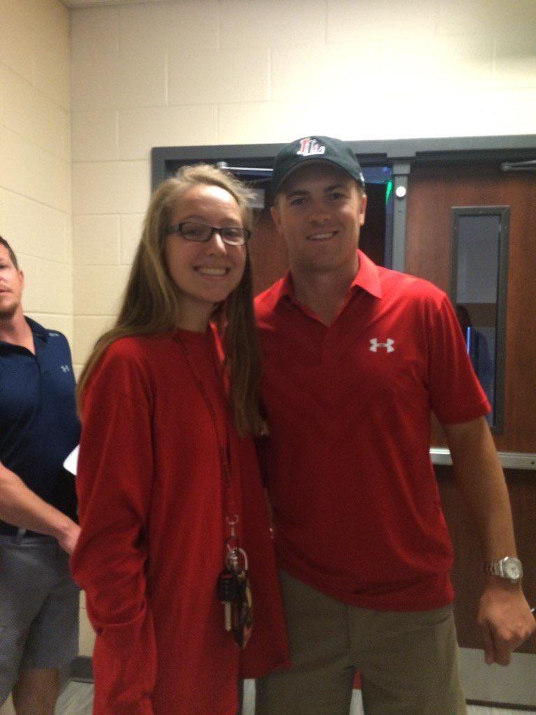Clad in Leopard apparel, professional golfer Jordan Spieth visited the middle school's pep rally last week as well as the varsity golf team.