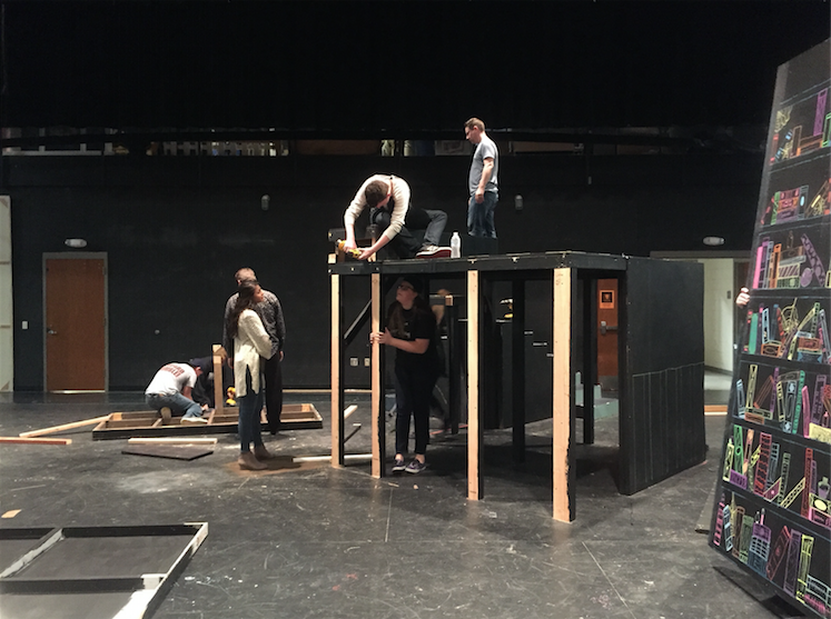 Students spent 3 weeks constructing the set for The Book of Everything, this year's production show. However, within an hour of the closing of the show, the set had been completely torn down and put away, a process called striking.
