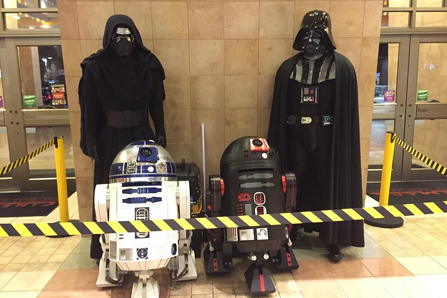 Characters from Star Wars' past and future adorned the lobby at the