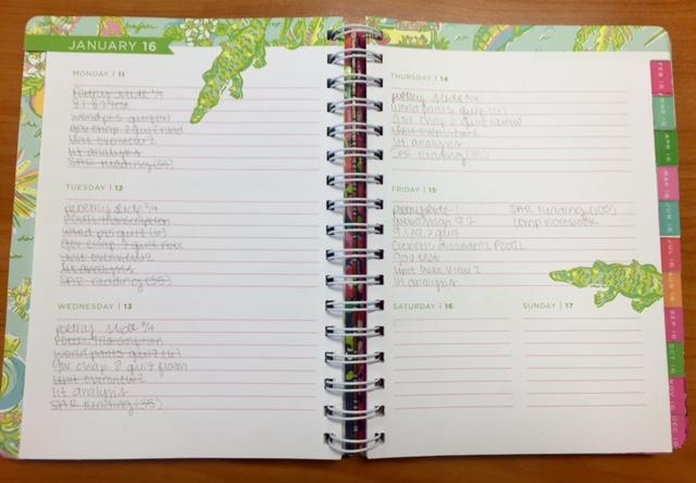 Senior Julia Vastanos weekly academic planner.
