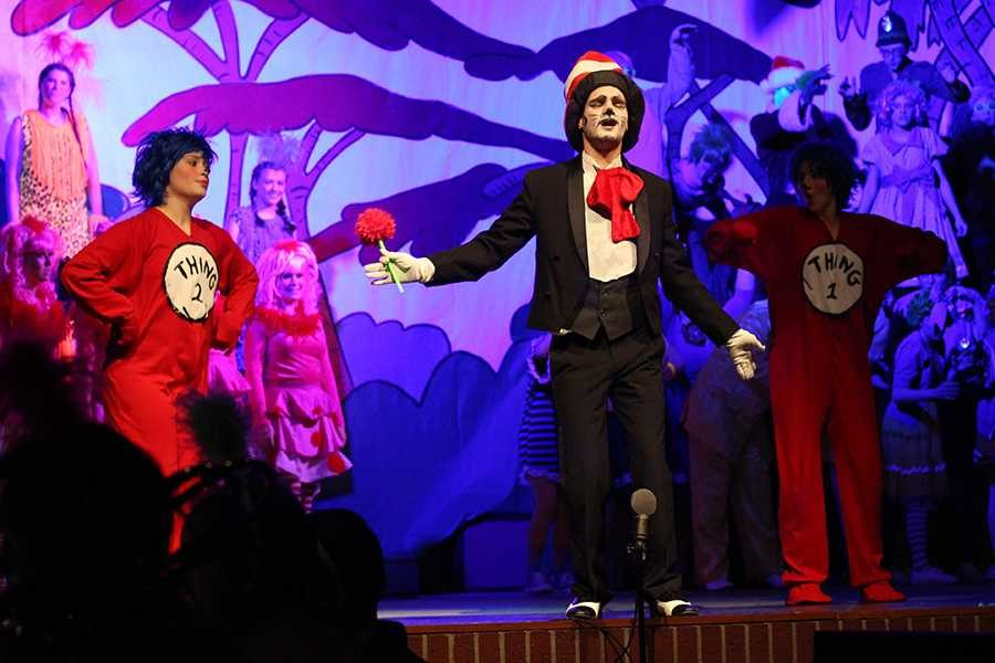 Jak Barths character, Cat in the Hat, sings in a musical number.