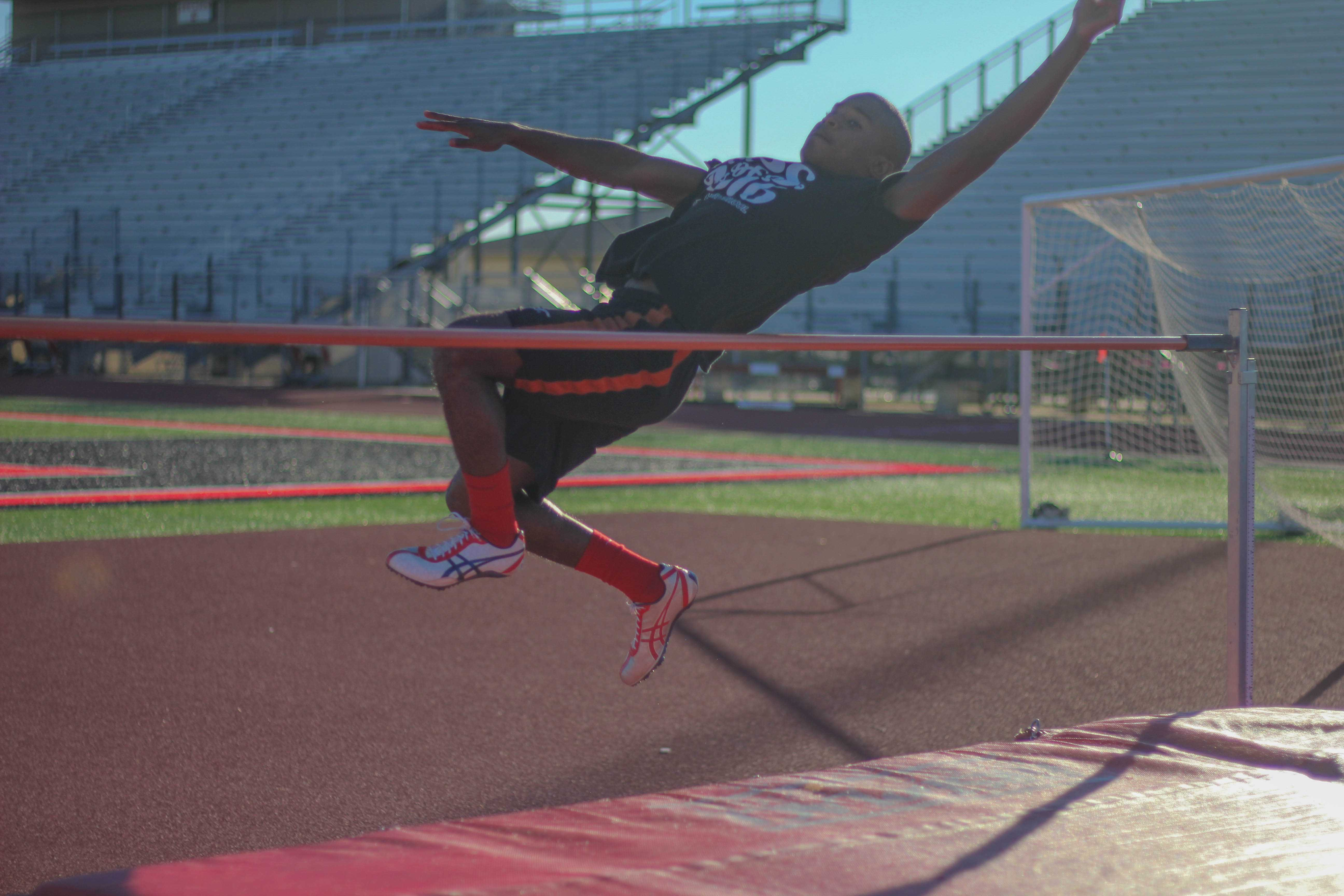 Kitrell Phillips practices high jumping in the week leading up to the Lovejoy Invitational.