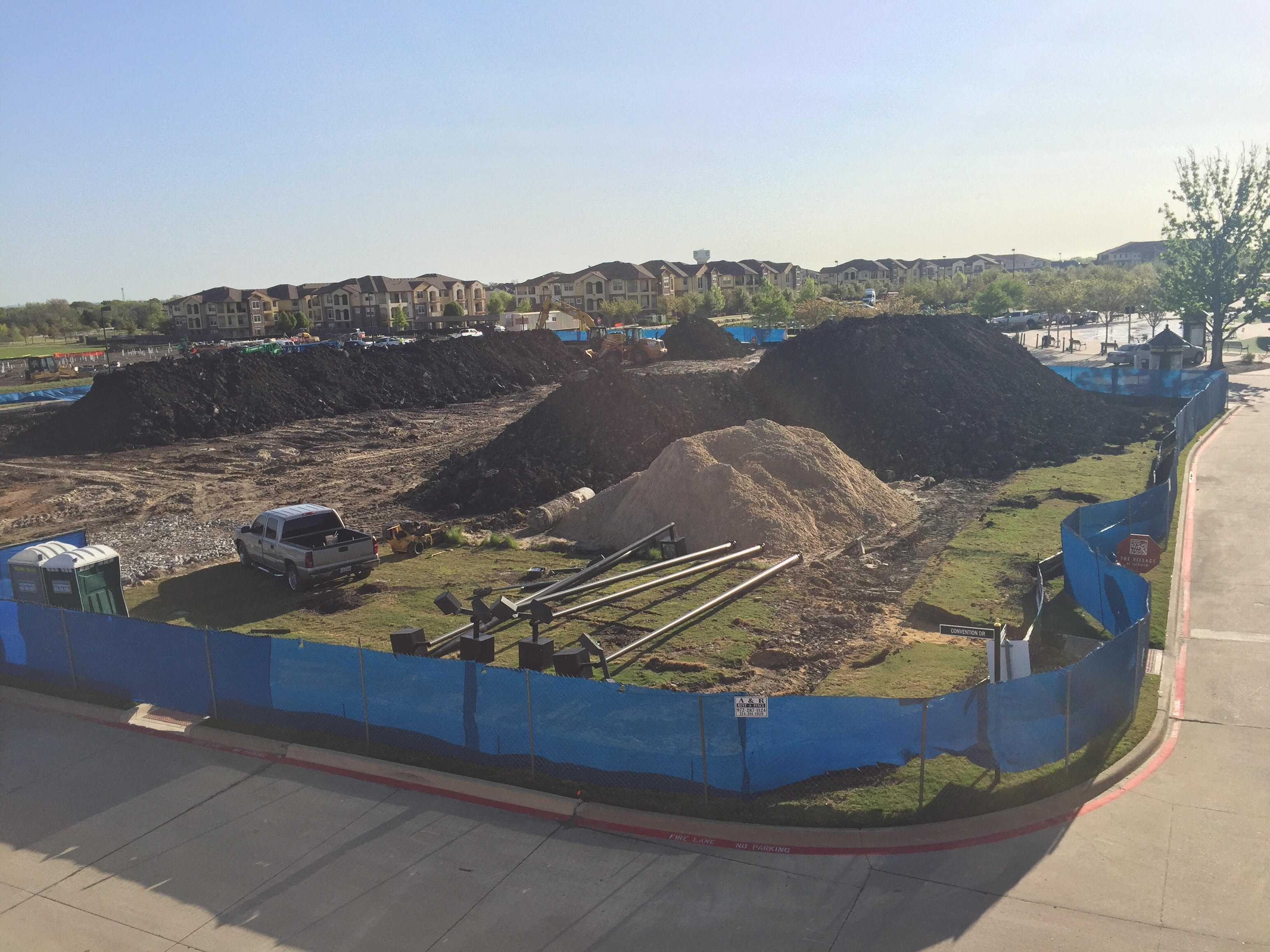 The former Village Beach has been bulldozed to begin construction for new Home2 Suites by Hilton.