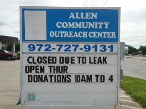 The same hail storms that caused significant damage to houses and cars in the area has left the Allen Community Outreach scrambling for funds to replace a damaged roof.