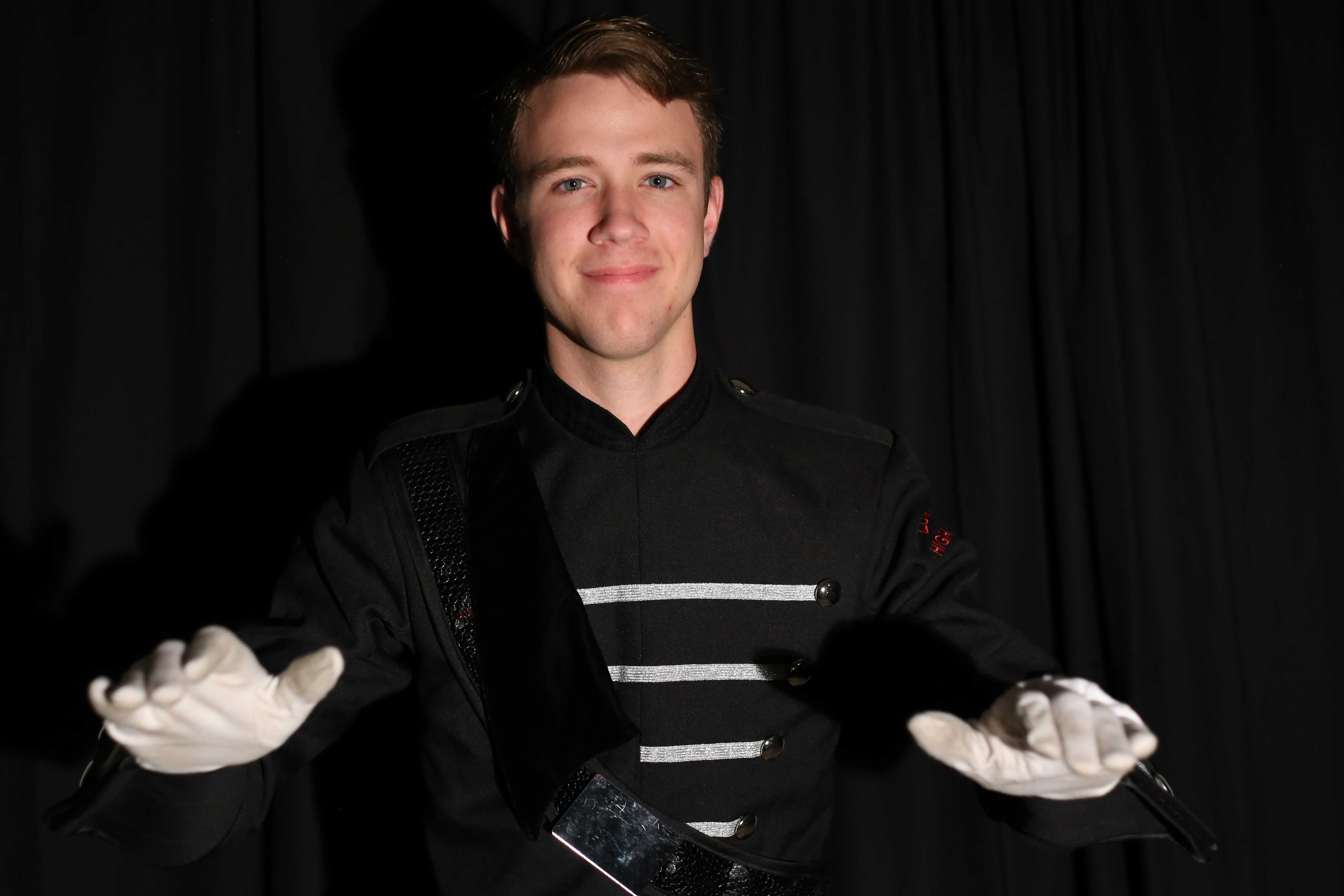 Braden Smotherman was one of the drum majors during the band's recent marching show,