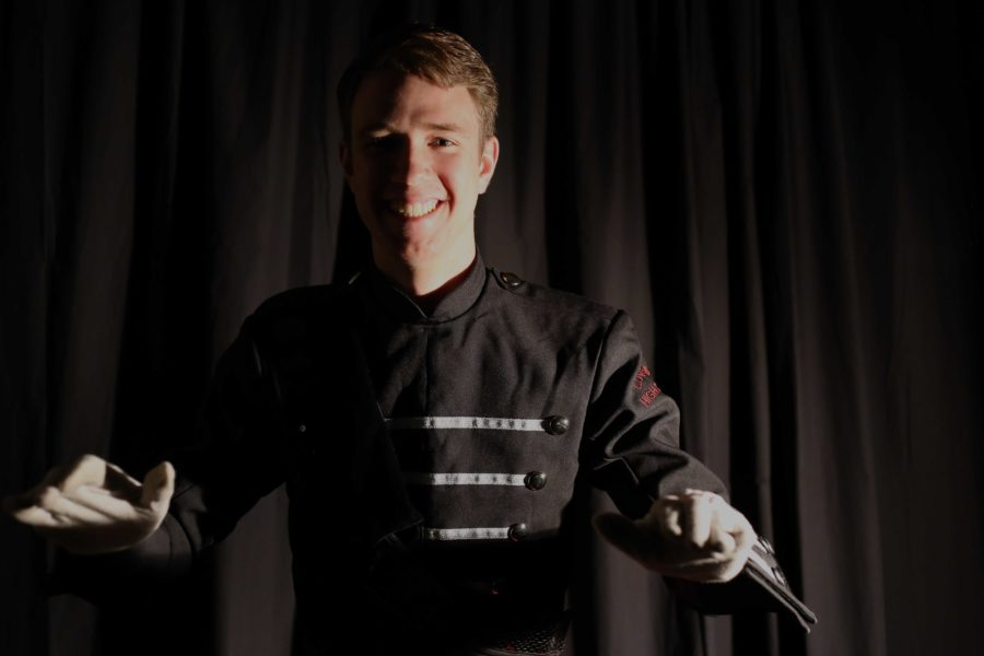 Braden Smotherman was one of the drum majors during the bands recent marching show, Chasing Shadows.
