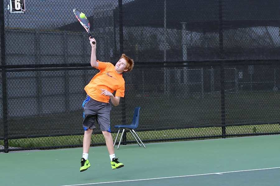 Freshman Caiden Tays has found his passion in the successful Leopard tennis team.