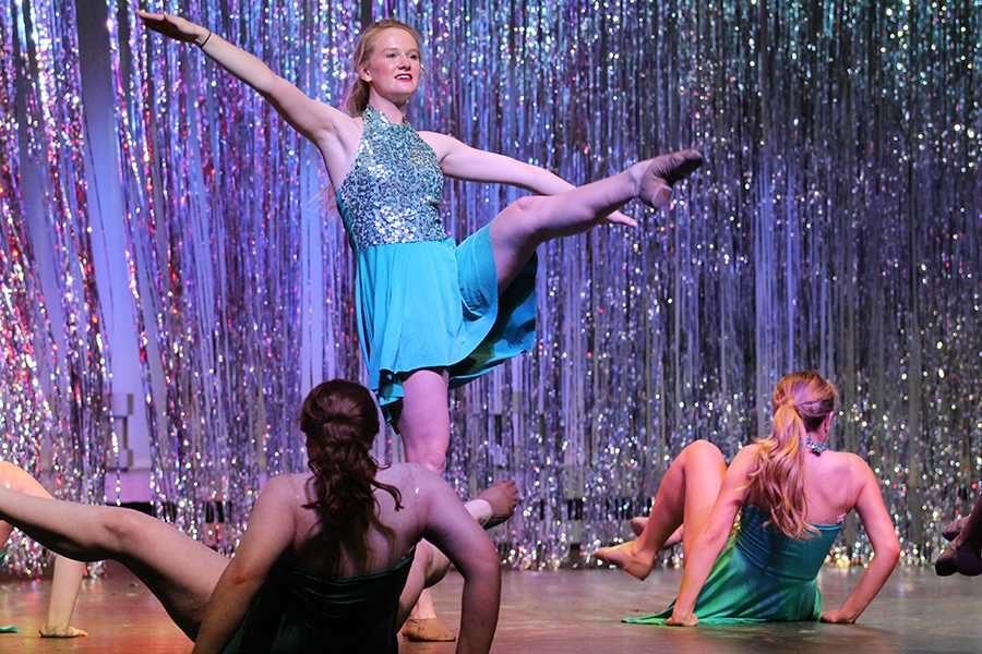 Senior Caroline Doran dances along side the rest of the Majestic seniors.