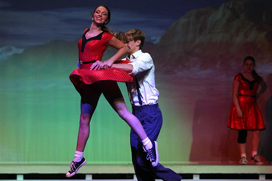 Majestic captain and senior Emma Legare dances with her partner, junior Braden Ledebur, during the spring show dress rehearsal on Wednesday, April 20.