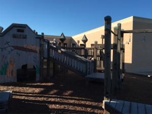 The previous playground was hand-built, hand-painted, and split into two sections: a larger playground and a smaller playground for kindergartners.
