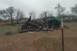Before spring break, the old playground was demolished.