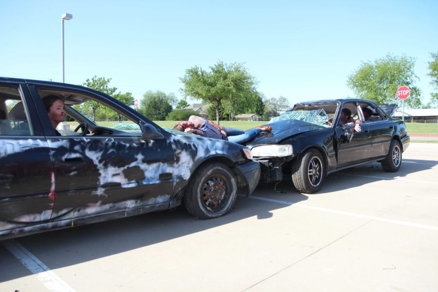 The scene, set up by the student council, contained two vehicles and five accident victims.