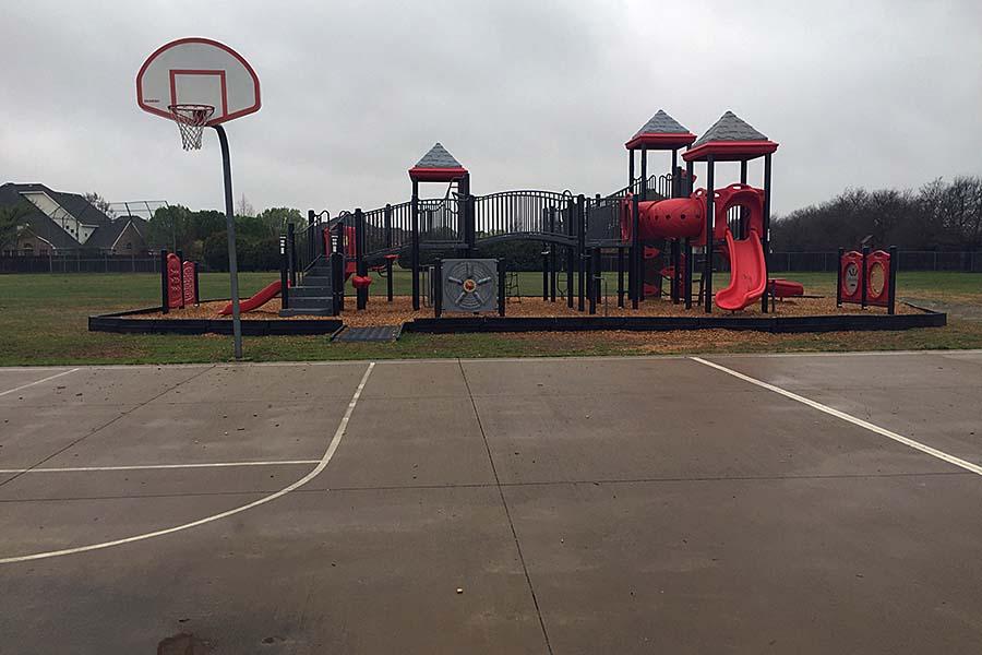 Lovejoy Elementary built a new playground after demolishing the old wooden one.