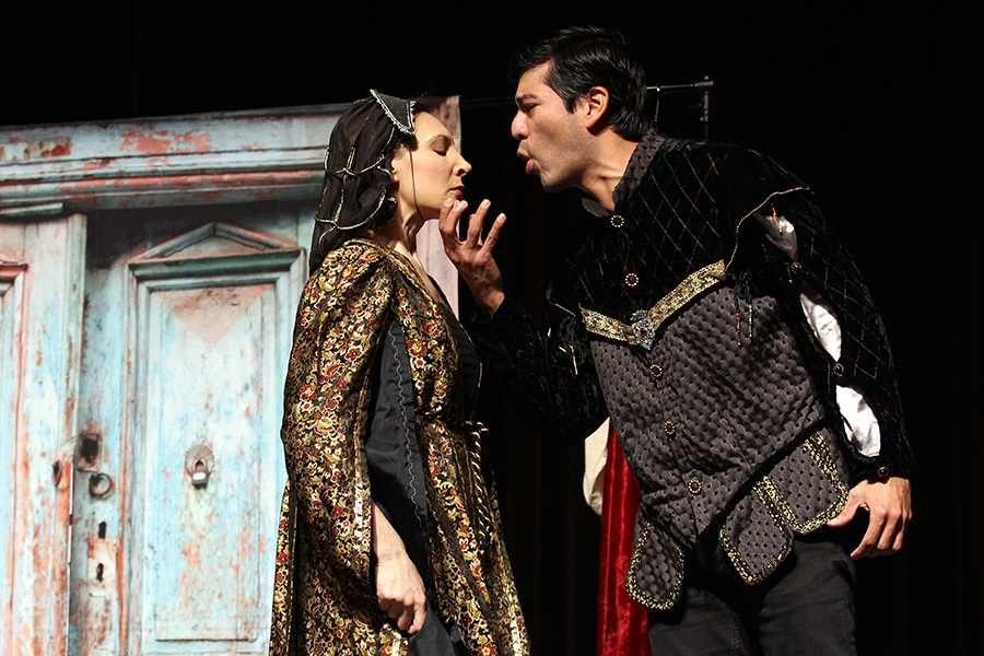 Julie Osborne and Ivan Jasso act in an emotional scene written by Shakespeare.