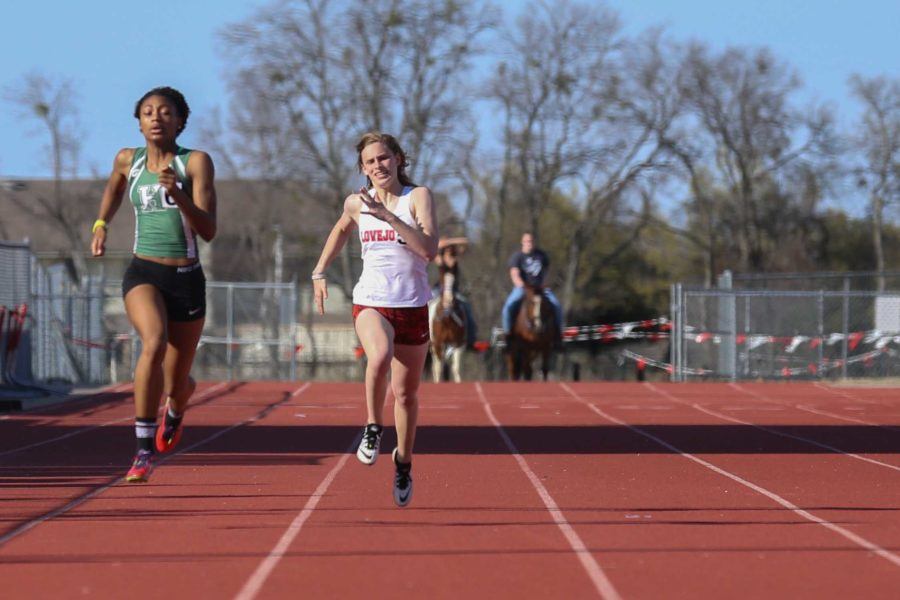 Grace Ridgeway runs in the 100 meter dash at the Lovejoy Invitational. Ridgeway, a multi-sport athlete, will compete Thursday at the state meet in the pole vault.