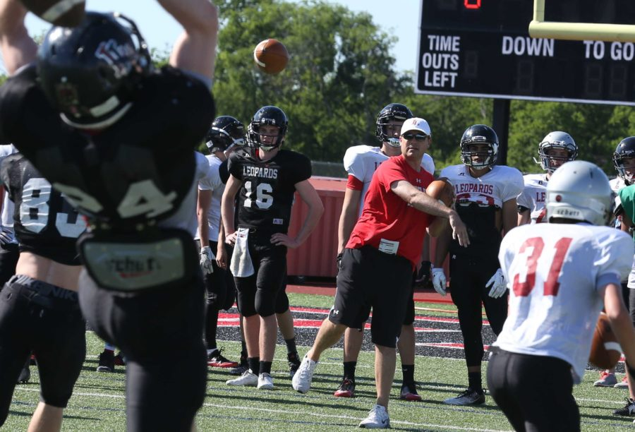 New head coach Todd Ford puts players through drills during a spring practice. The spring game is Saturday, May 21, at 9 a.m.