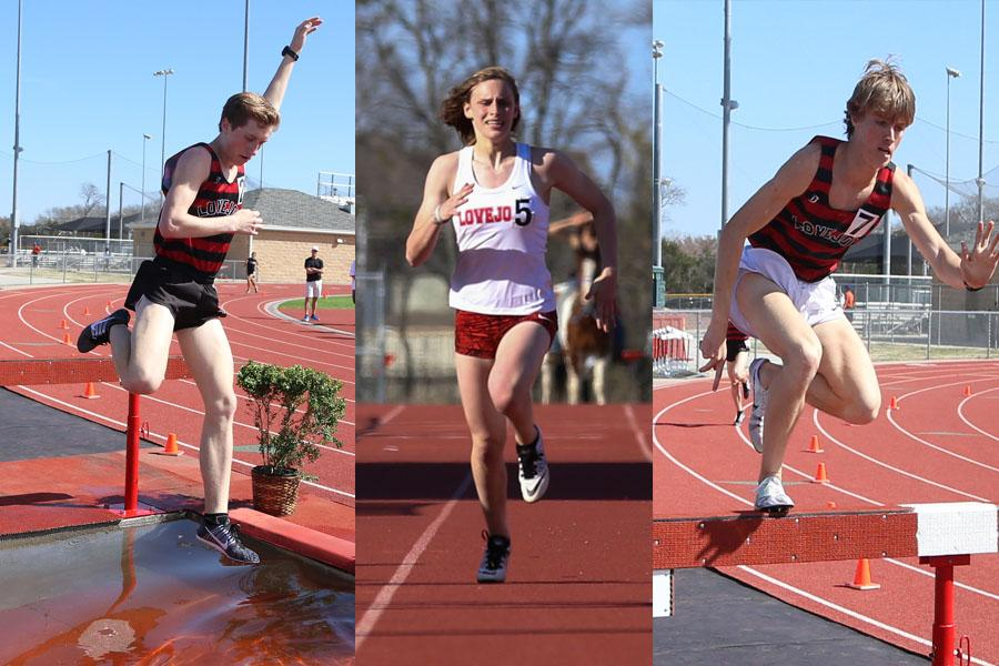 [From left] Sophmore Ryan Brands, sophmore Grace Ridgeway, and junior Grant Tiff will take their talents to Waco on Saturday to compete against the state's track elite.
