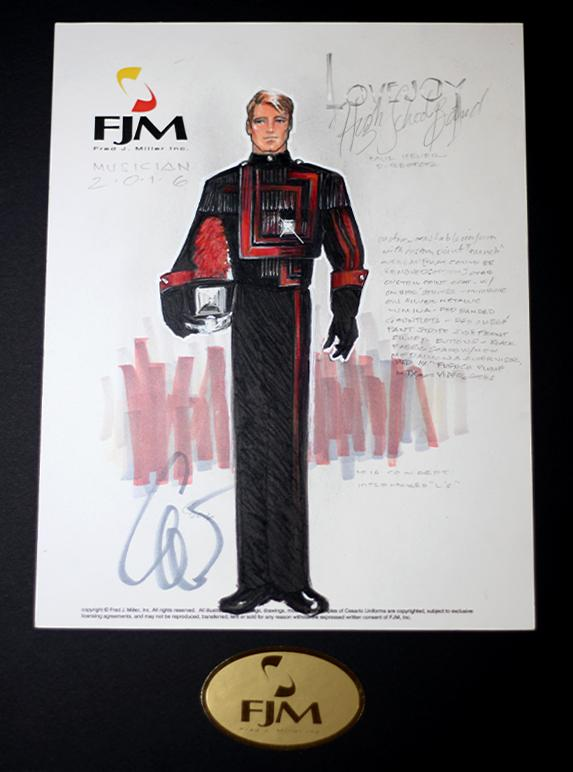 The original design sketches by Fred J. Miller have been altered over several months to decide on the final look of the new uniforms.