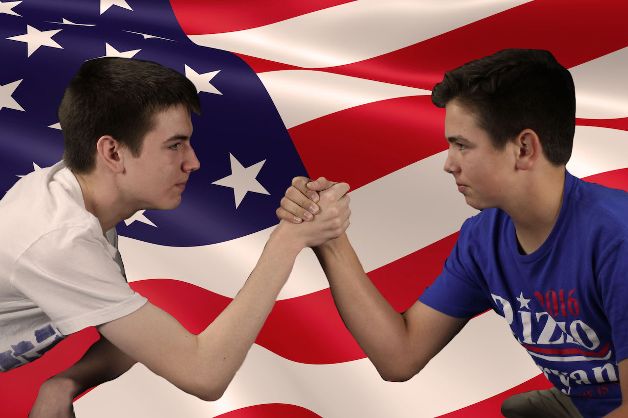 Even though they're brothers, Harrison and Grant Durrow do not have the same political views.