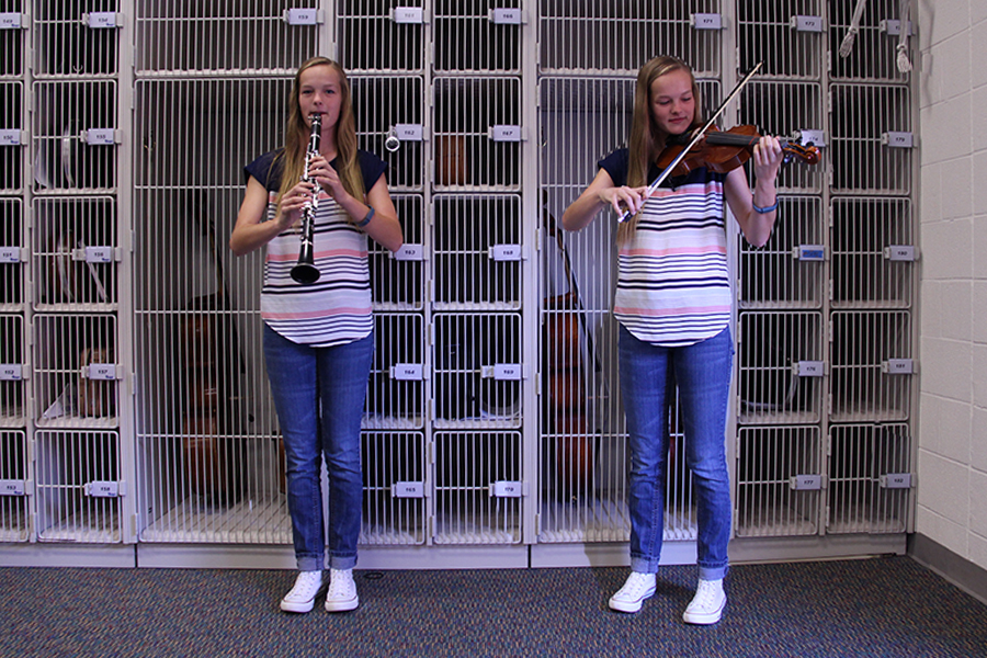 Renée Dobson balances band and orchestra, playing both the violin and the clarinet.