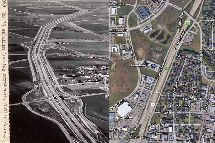Since 1959, the population of Allen and Fairview have increased exponentially. Featured left is US Highway 75 North in 1959, and featured right is the same area and highway in 2016.