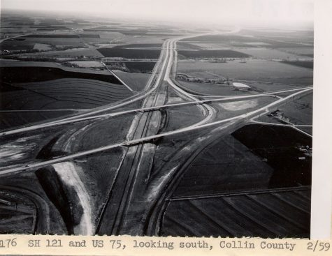 US Highway 75 and Highway 121 facing South, taken in 1959. The left-hand corner of the image is the site where Medical Center now resides, and the far back fields are now the bustling city of Allen.