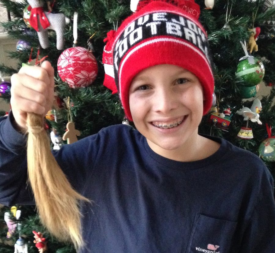 Seventh grade student, Maddox Pederson, grew out his  in order to donate it to an organization that provides free wigs for children battling cancer.