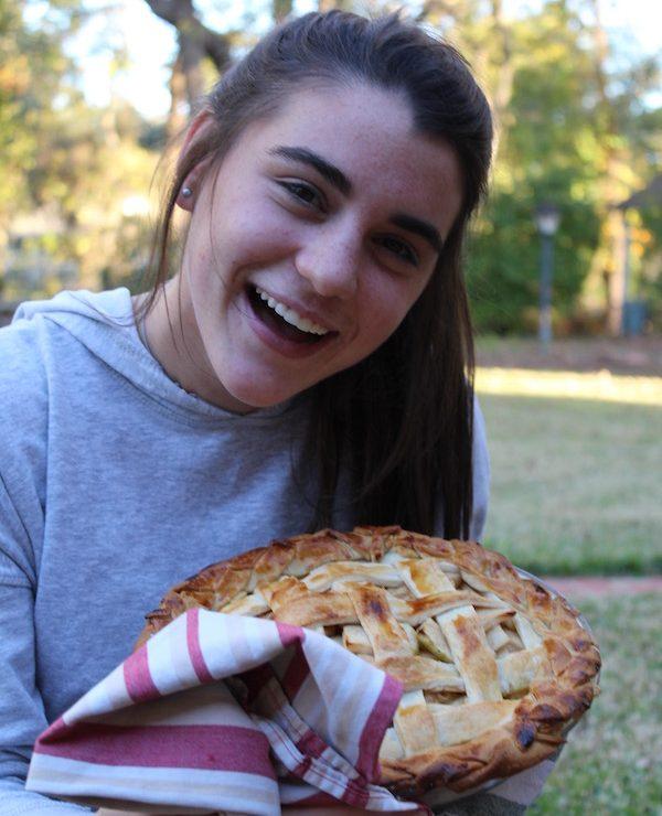 Senior Noelle Franz with her homemade apple pie.