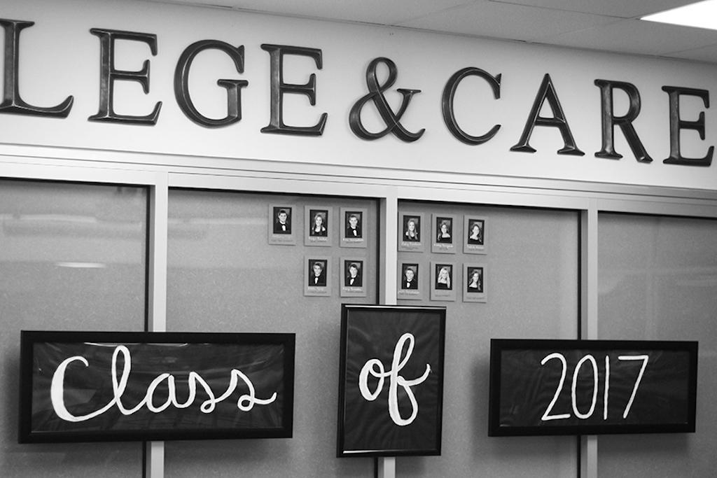 Senior Paige Becker has teamed up with the college and career counselors to make a Senior Wall that displays seniors' future plans.