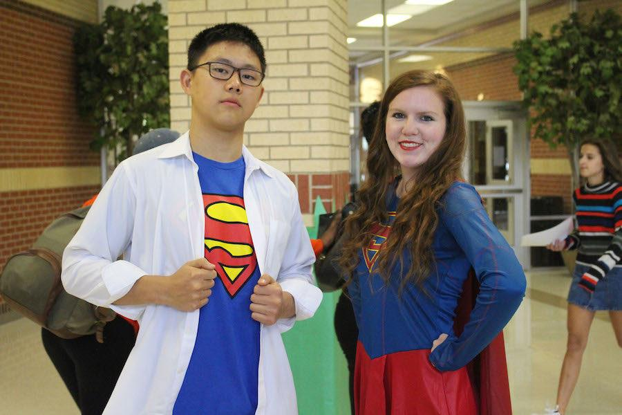 Juniors Autumn Purcell and Anthony Tang wear coordinated Superman inspired outfits